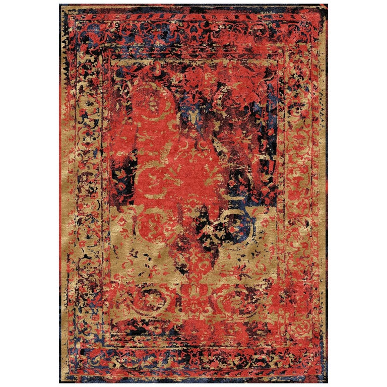 Modern Rug Hand Knotted Tabriz Style Erased Design Wool, Silk, in Black Reds  For Sale