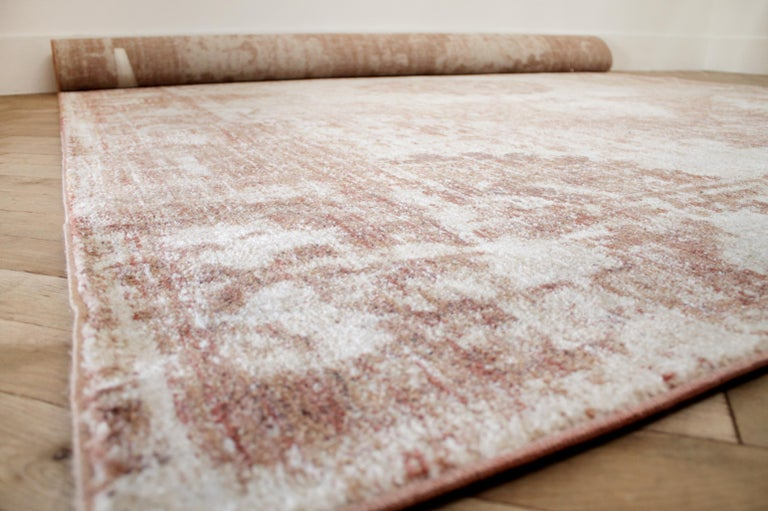Modern Rug in Rust Natural and Cream Tones In Good Condition For Sale In Brea, CA