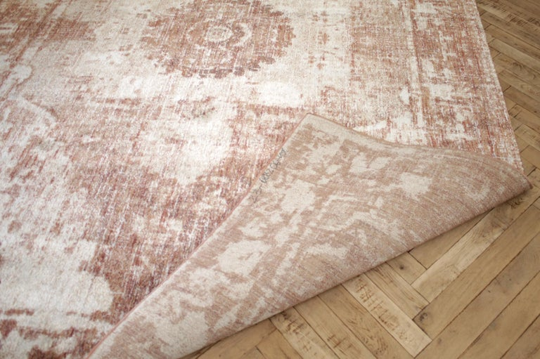 Contemporary Modern Rug in Rust Natural and Cream Tones For Sale