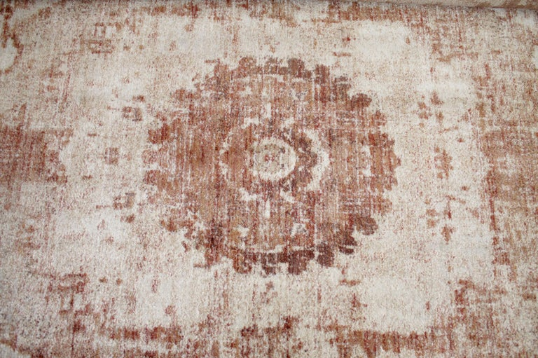 Wool Modern Rug in Rust Natural and Cream Tones For Sale