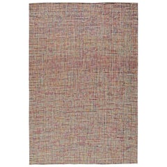 Modern Rug in Shades of Pink, Gray, Green and Brown