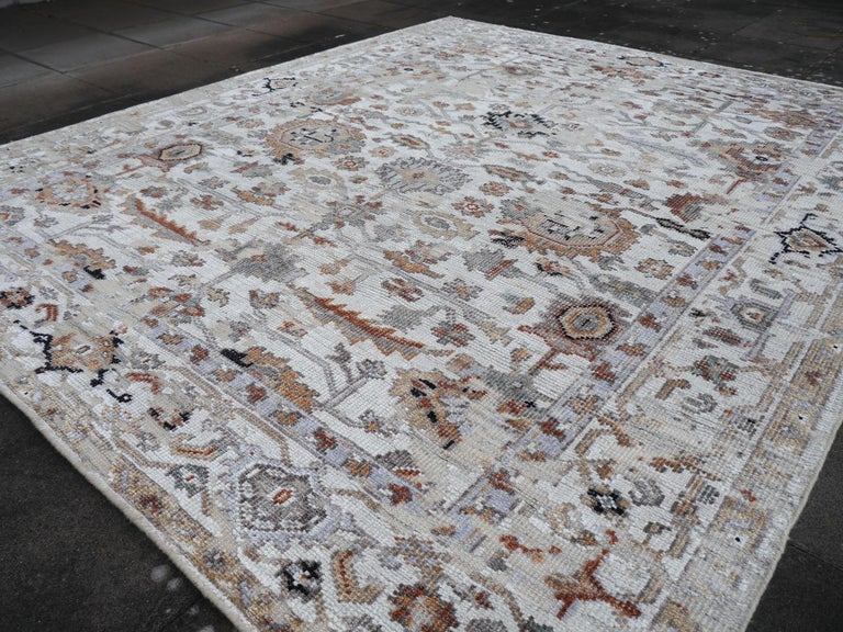 Modern Rug in Style of Oushak Hand Knotted Contemporary Carpet 1