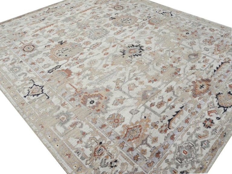 Modern Rug in Style of Oushak Hand Knotted Contemporary Carpet 3