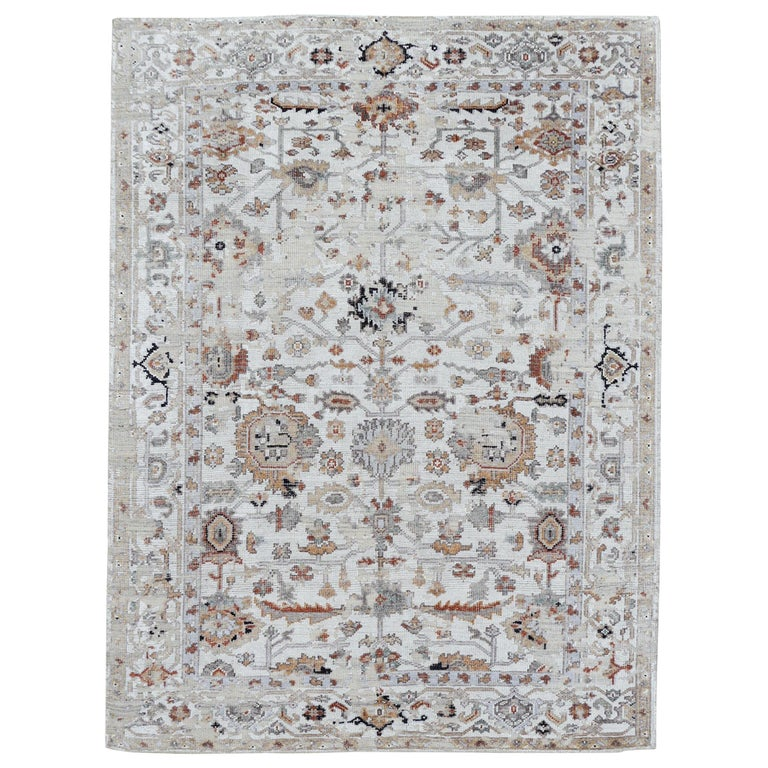 Modern Rug in Style of Oushak Hand Knotted Contemporary Carpet