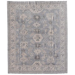 Modern Rug in Style of Oushak Hand Knotted Contemporary Carpet White Gray