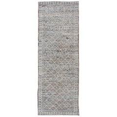 Modern Rug with Tribal Design in Light Gray, Taupe, Brown and Naturals Colors