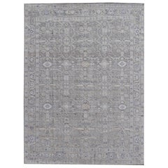 Modern Rug Wool Pile and Bamboo Silk in style of Oushak