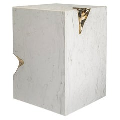 Modern Ruins Side Table in White Greek Marble and Gold-Plated Details