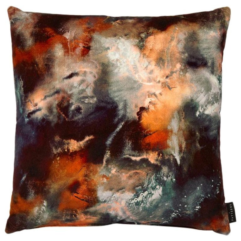 Modern Rust Cloudbusting Cotton Velvet Cushion by 17 Patterns For Sale