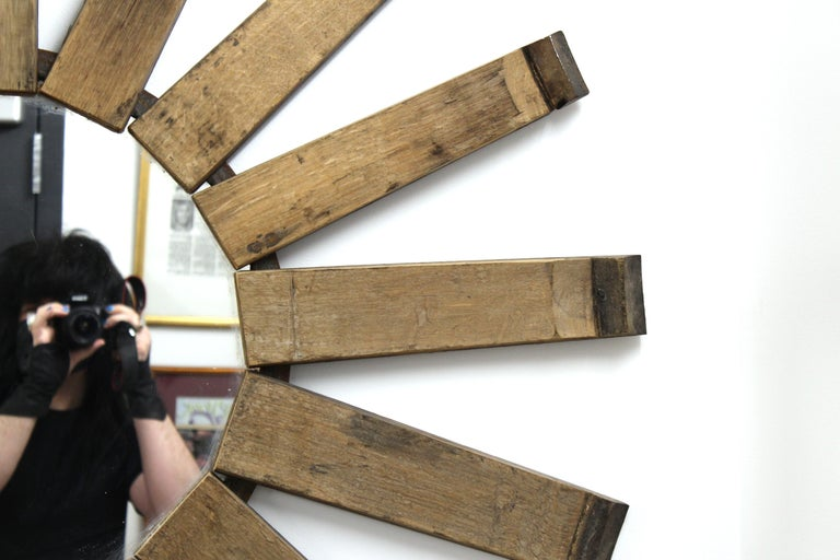 20th Century Modern Rustic Sunburst Wood Wall Mirror For Sale
