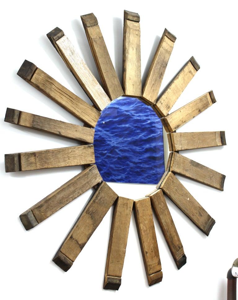 Modern Rustic Sunburst Wood Wall Mirror For Sale 1