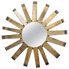 Modern Rustic Sunburst Wood Wall Mirror
