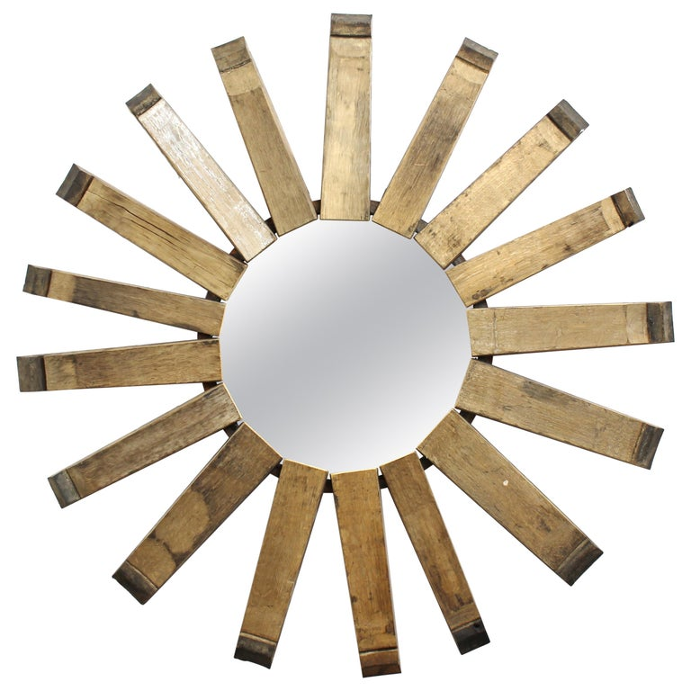 Modern Rustic Sunburst Wood Wall Mirror For Sale