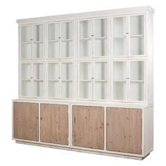 Modern Rustic White and Natural Wood Bookcase