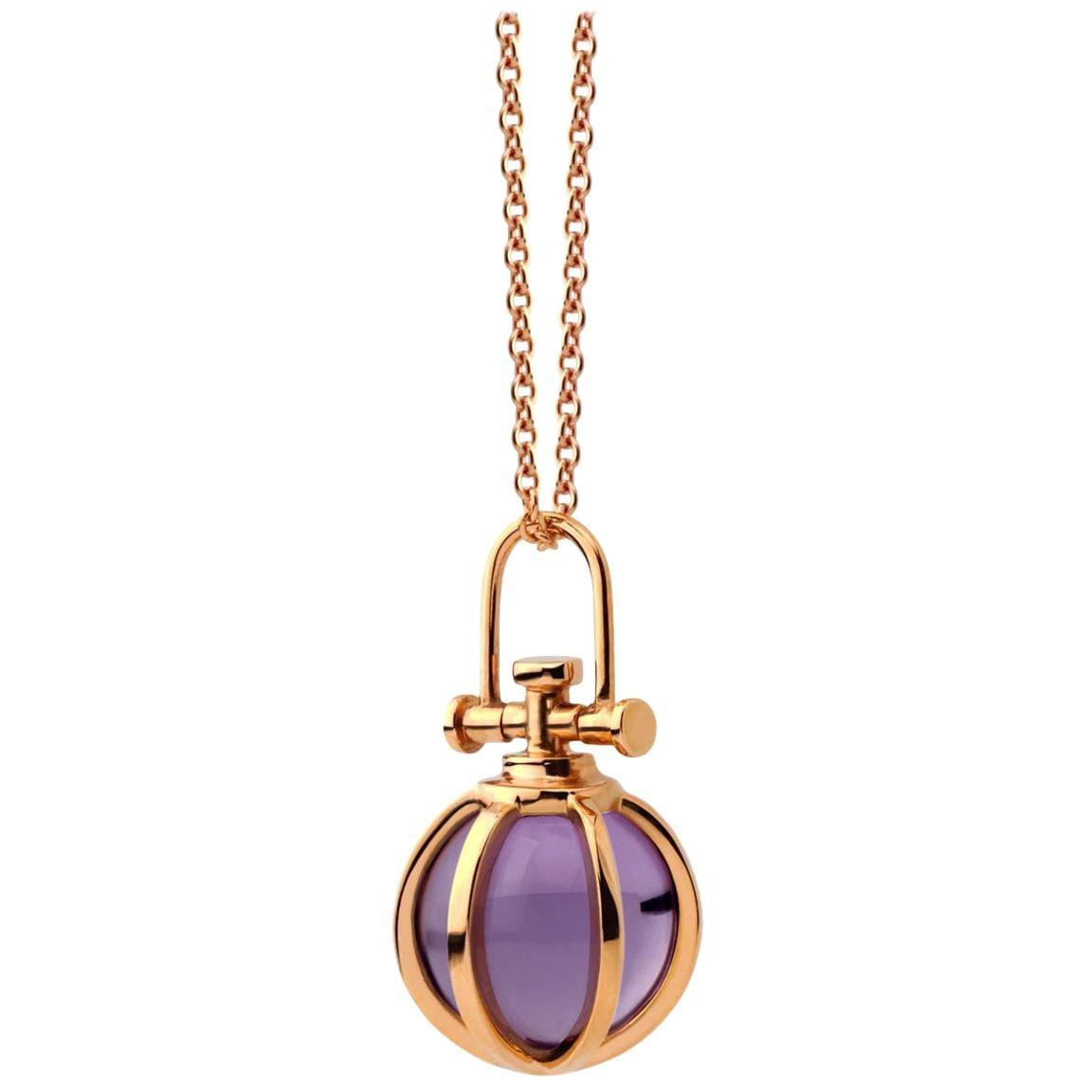 Modern Sacred 18 Karat Gold Crystal Orb Amulet Necklace with Natural Amethyst