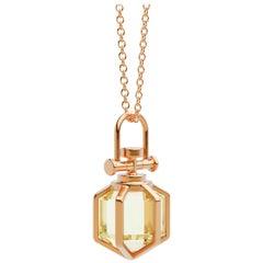 Modern Sacred 18k Solid Rose Gold Talisman Pendant Necklace with Lemon Citrine