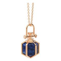 Modern Sacred Geometrical Dainty 18k Rose Gold Amulet Necklace w/ Lapis Lazuli