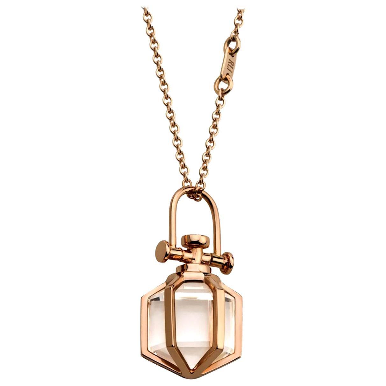Modern Sacred Minimalism 18k Rose Gold Talisman Amulet Necklace w/ Rock Crystal
