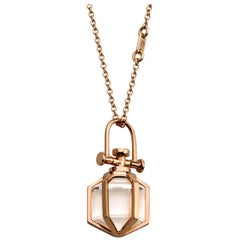 Modern Sacred Minimalism 18k Rose Gold Talisman Amulet Necklace w/ Rock Crystal