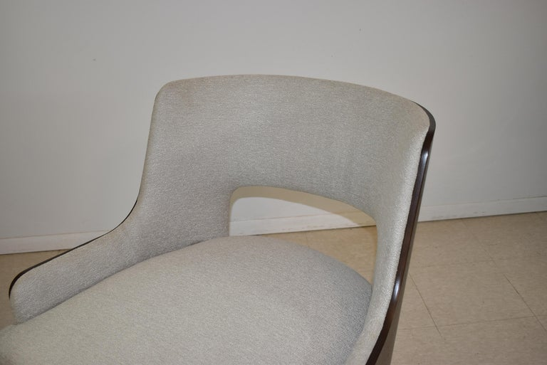 Walnut Modern Salon Lounge Chair Open Back H B F Barbara Barry For Sale