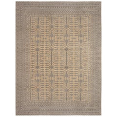 Modern Samarkand Beige and Gray Sepia Hand Knotted Wool Rug
