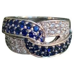 Modern Sapphire and Diamond 18 Karat White Gold Fashion Ring - Size 6 1/2