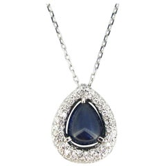 Modern Sapphire Cabochon Cut Diamonds 18 Karat Gold Pendant on Chain, Italy