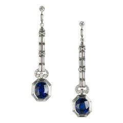 Modern Sapphire Diamond and Platinum Drop Earrings