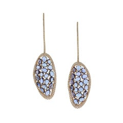 Modern Sapphire Diamond Gold Drop Earrings