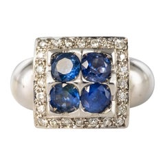 Modern Sapphire Diamond White Gold Square Ring