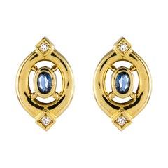 Modern Sapphire Diamonds 18 Karat Yellow Gold Stud Earrings