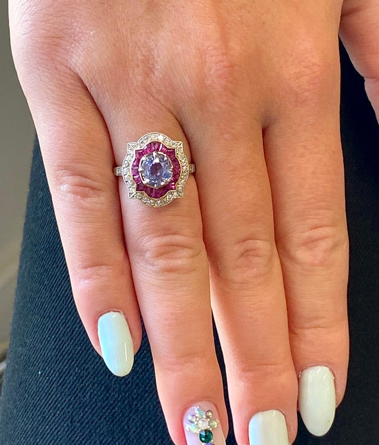 Contemporary Modern Sapphire Ruby Diamond Platinum Ring For Sale