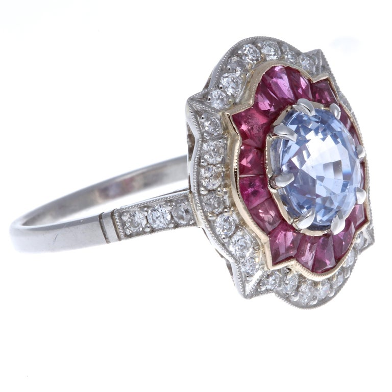 Modern Sapphire Ruby Diamond Platinum Ring For Sale 1