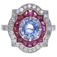 Modern Sapphire Ruby Diamond Platinum Ring