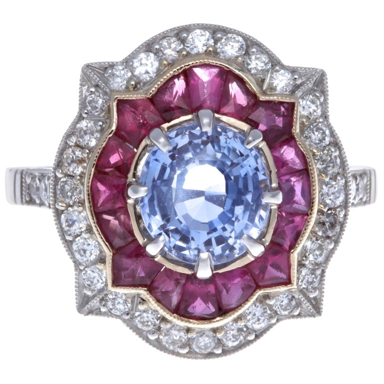 Modern Sapphire Ruby Diamond Platinum Ring For Sale