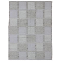 Modern Scandinavian Flat-Weave Rug with Checkerboard Design in Gray Tones