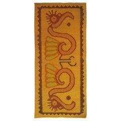 Modern Scandinavian Folk Art Tapestry