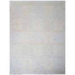 Modern Scandinavian Rug with Blue Field and 'Arrow Tail' Patterns in Gray