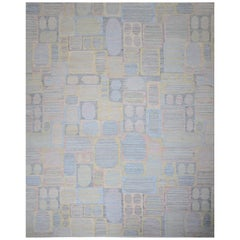 Modern Scandinavian Rug with Colorful Geometric Details on Gray Striped Field