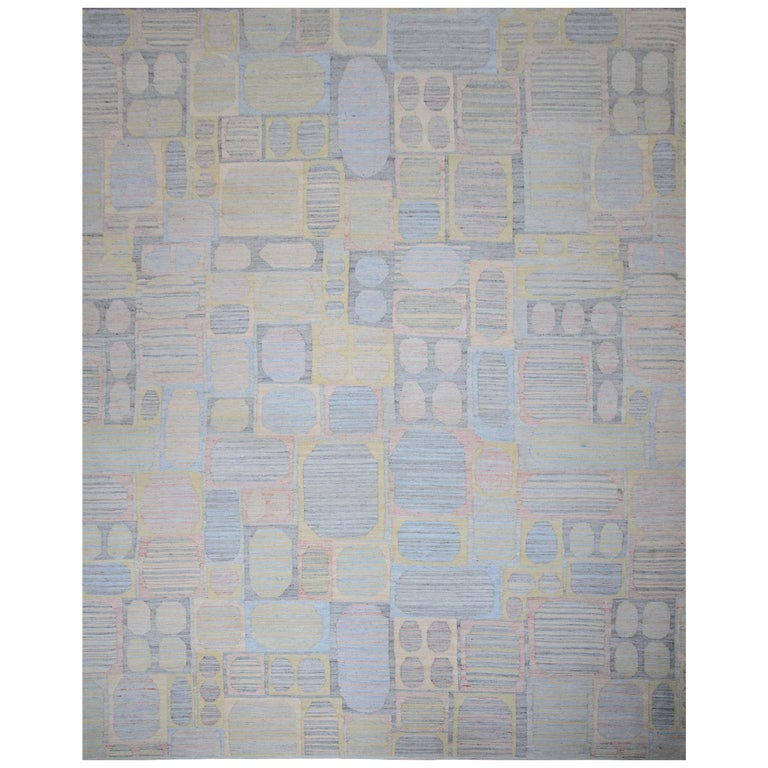 Modern Scandinavian Rug with Colorful Geometric Details on Gray Striped Field For Sale