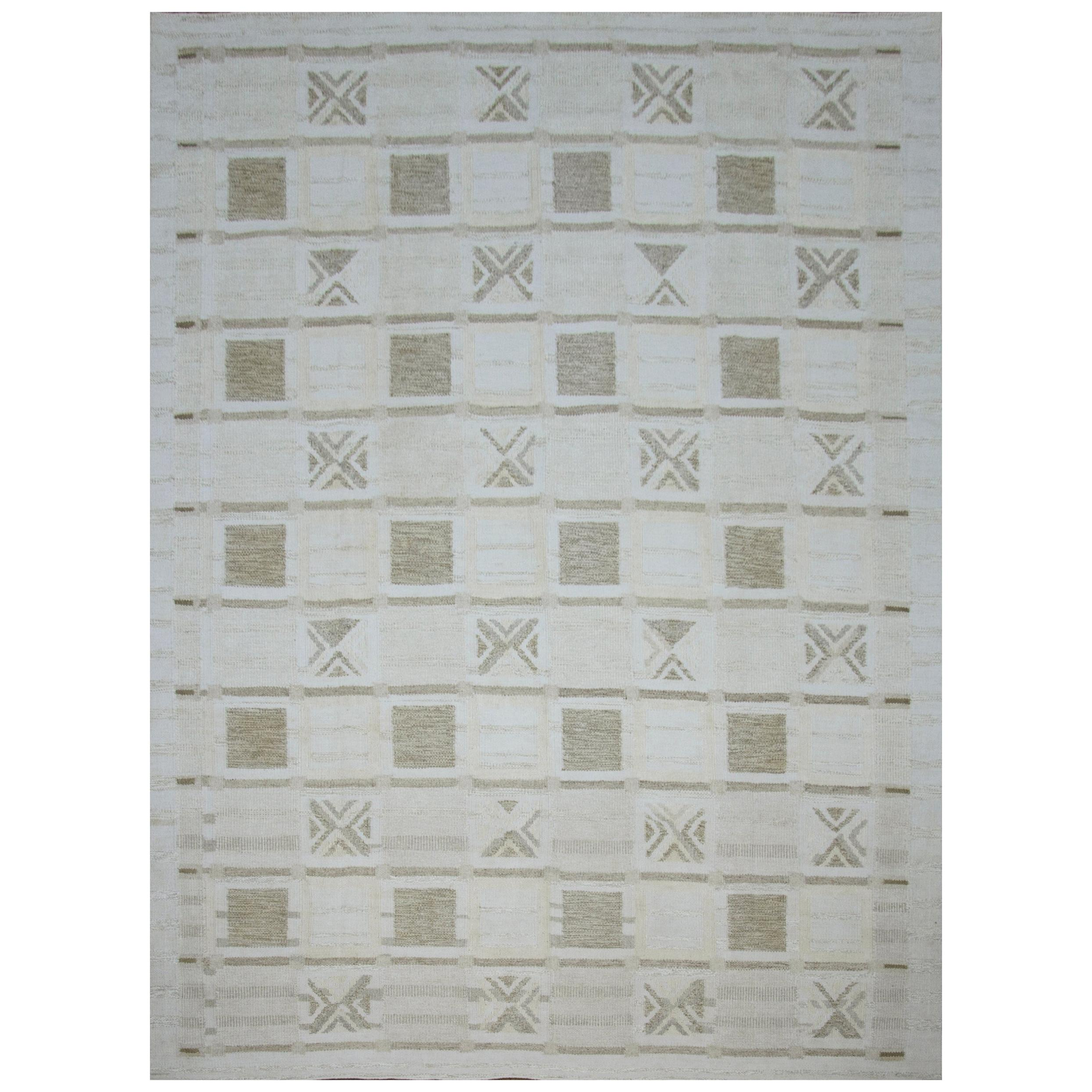 Modern Scandinavian Rug with Ivory and Gray 'Chess Board' Patterns