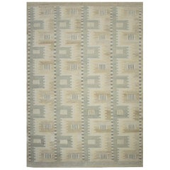Modern Scandinavian Rug with Ivory and Gray Geometric Patterns