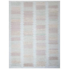 Modern Scandinavian Rug with 'Picket Fence' Patterns in Green, Purple and Brown