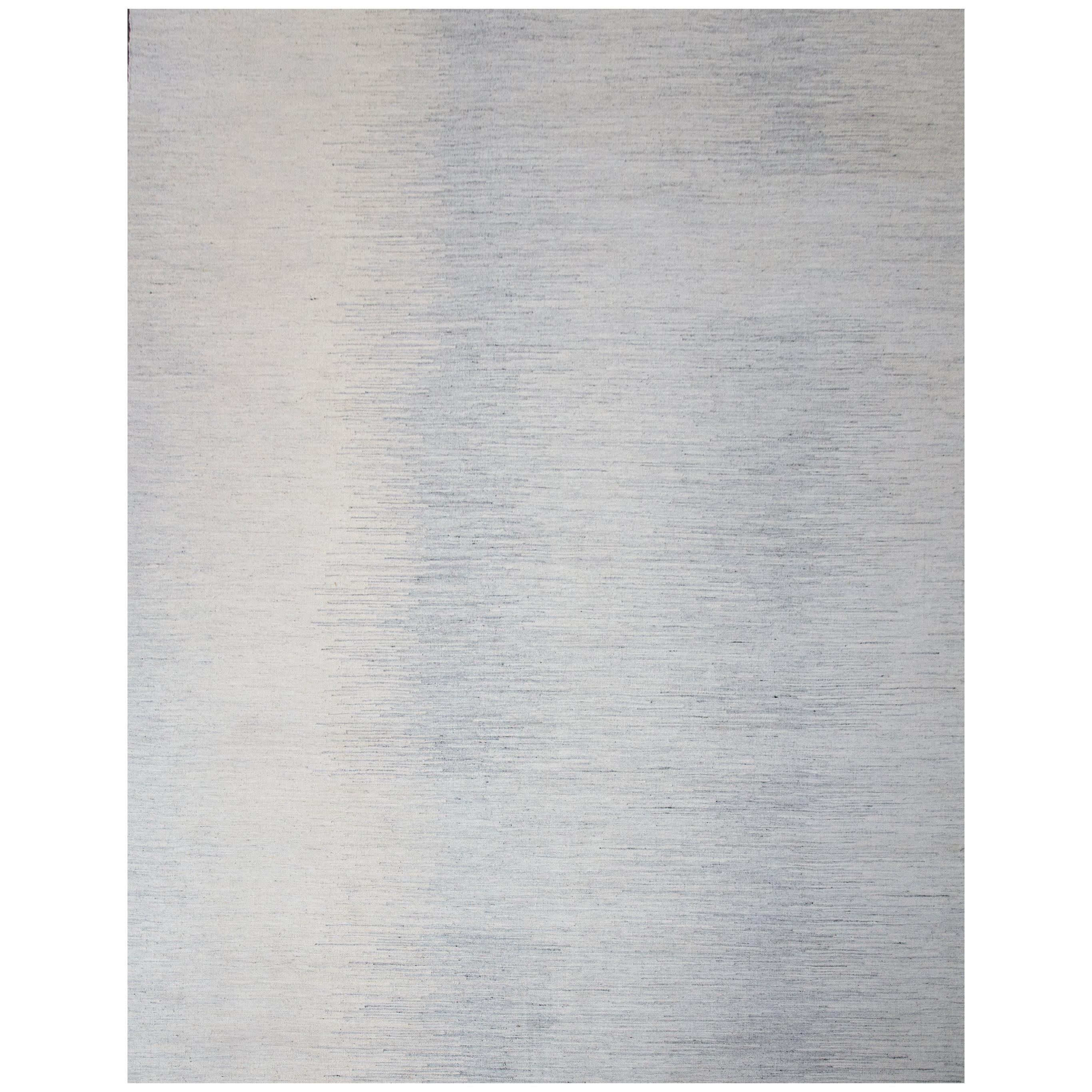 Modern Scandinavian Rug with 'Seismograph Wave' Patterns in Gray over Ivory