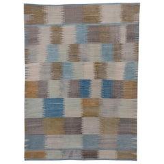 Modern Scandinavian Style Flatweave Rug, Blue Ivory & Citron Tones