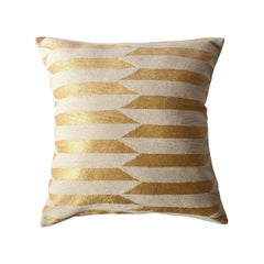 Modern Scarpa Circus Ivory Hand Embroidered Striped Wool Throw Pillow Cover