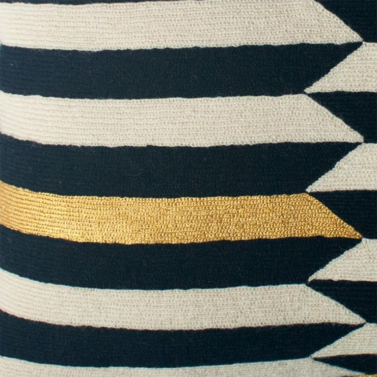 Indian Modern Scarpa Piano Hand Embroidered Striped Wool Throw Pillow Cover For Sale