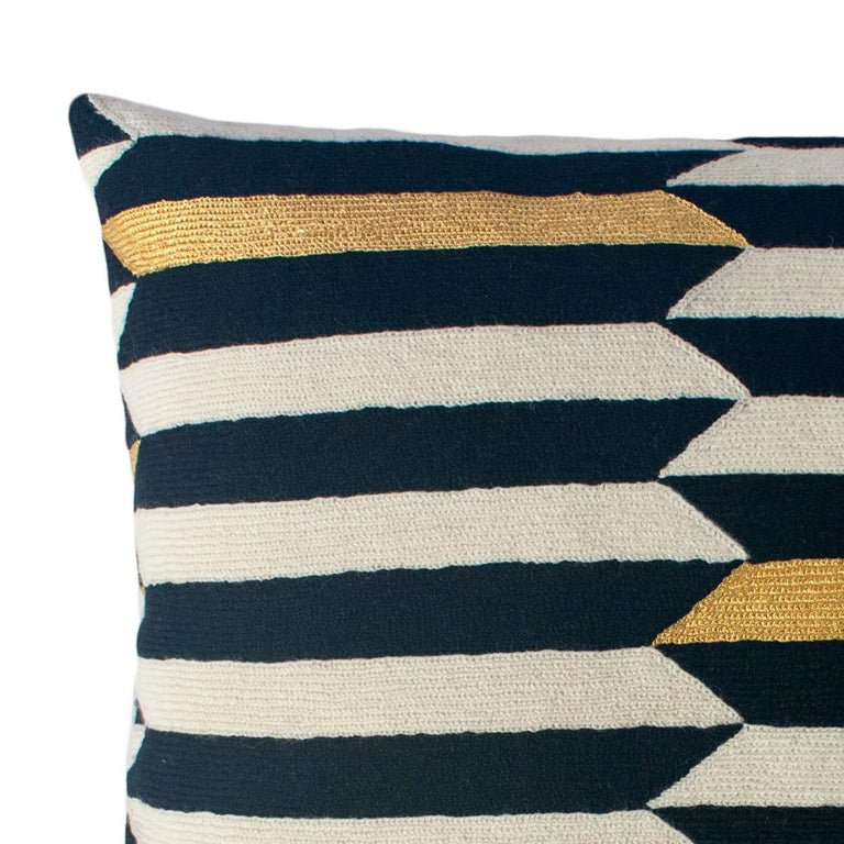 Modern Scarpa Piano Hand Embroidered Striped Wool Throw Pillow Cover In New Condition For Sale In Westfield, NJ