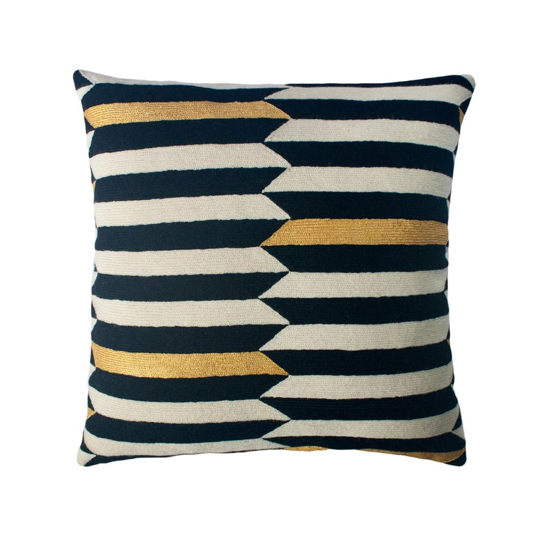 Modern Scarpa Piano Hand Embroidered Striped Wool Throw Pillow Cover For Sale