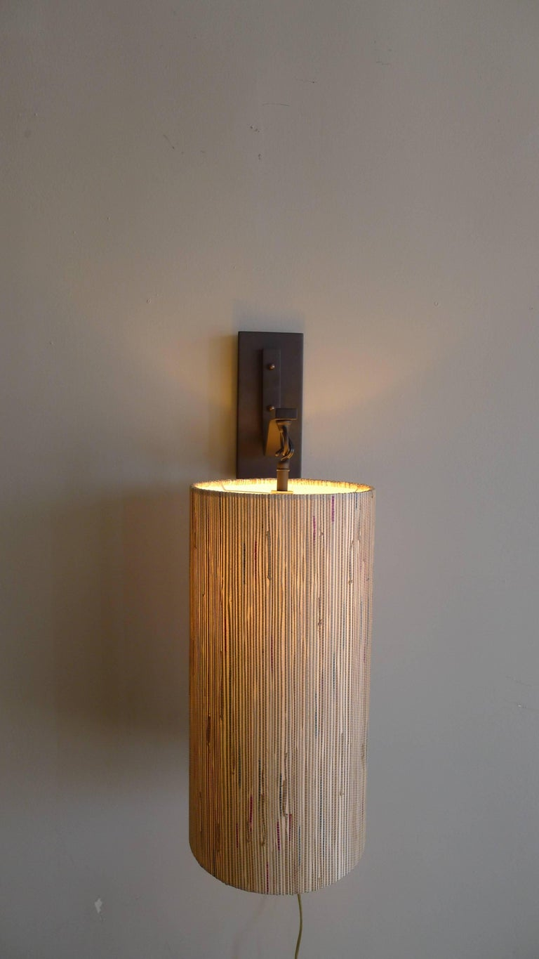 American Modern Sconce with Custom Grasscloth Shade by Paul Marra For Sale